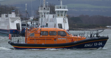 Lifeboat passing Sandbanks Chain Ferry