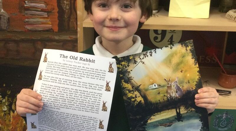 8-year-old Lenny Tucker with Forest Holme's version of his award-winning The Old Rabbit story